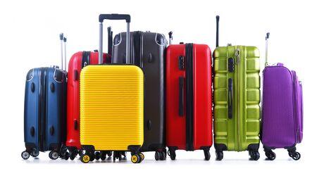 Travel suitcases isolated on white background.