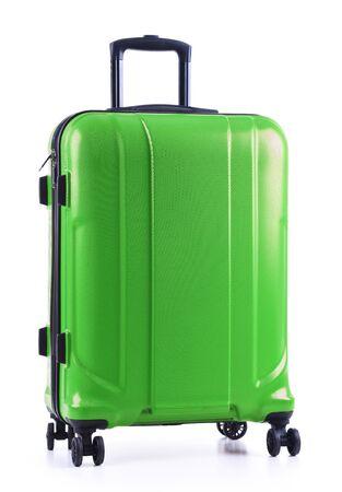 Travel suitcase isolated on white background.