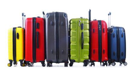 Travel suitcases isolated on white background. Stock Photo