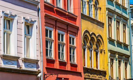 Historic architecture of the old town in Krakow, Poland Imagens