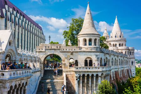 BUDAPEST, HUNGARY - JUL 28, 2019: Fisherman's Bastion on the Castle hill in Budapest, Hungary