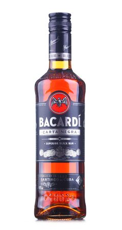 POZNAN, POL - AUG 21, 2019: Bottle of Bacardi black rum, a product of Bacardi Limited, the largest privately held, family-owned spirits company in the world, headquartered in Hamilton, Bermuda.