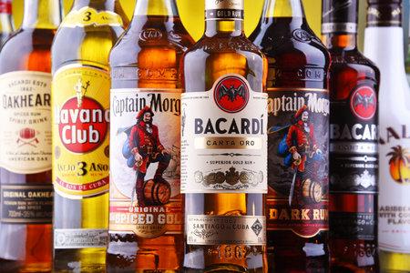 POZNAN, POL - AUG 22, 2019: Bottles of best selling global rum brands including Bacardi, Havana Club and Captain Morgan