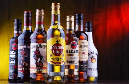 POZNAN, POL - AUG 22, 2019: Bottles of best selling global rum brands including Bacardi, Havana Club and Captain Morgan Editorial