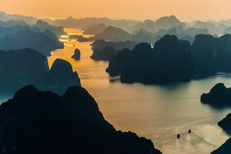 Aerial view of Ha Long Bay, Vietnam during sunset