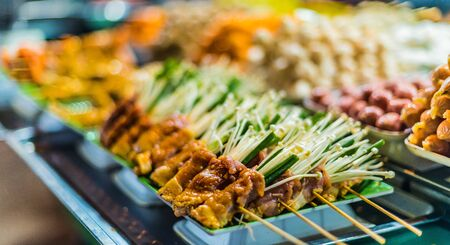 Traditional Vietnamese street food sold in Da Nang night market, Vietnam