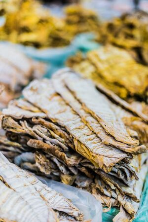 Dried sea food products sold on the Dong Xuan Market in Hanoi, Vietnam.