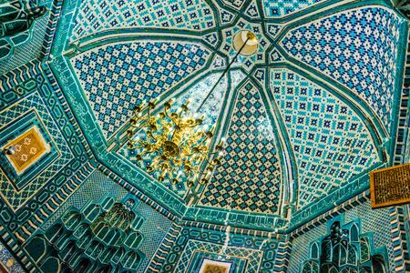 Interior of the tomb in Shah-i-Zinda or Shohizinda (The Living King), a necropolis in Samarkand, Uzbekistan.