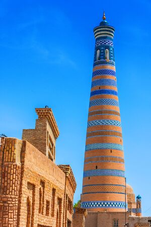 Historic architecture of Itchan Kala, walled inner town of the city of Khiva, Uzbekistan.