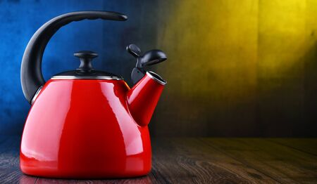 Traditional stainless steel stovetop kettle with whistle of two litres capacity Stockfoto