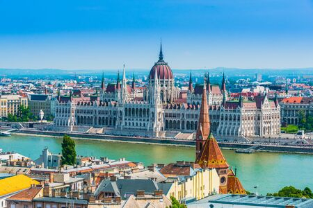 Panoramic view of Budapest with Hungarian Parliament Building on the bank of the Danube.