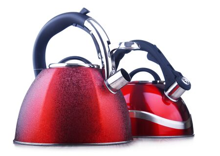Traditional stainless steel stovetop kettles with whistle isolated on white background Stockfoto