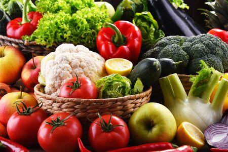 有機野菜や果物の盛り合わせとの組成
