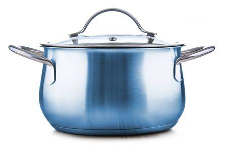 Steel pot isolated on white background. 版權商用圖片