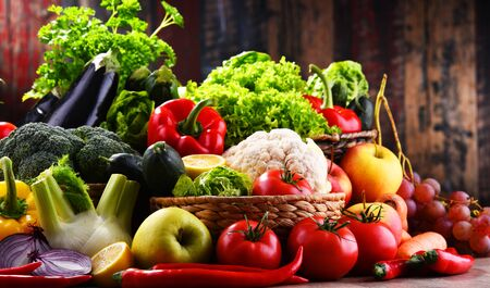 Composition with assorted organic vegetables and fruits Stock Photo