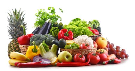 Composition with assorted organic vegetables and fruits.