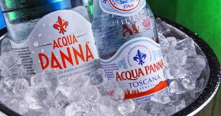 POZNAN, POL - JAN 3, 2020: Bottles of Acqua Panna, an Italian brand of bottled water and one of the worlds largest bottled water brands