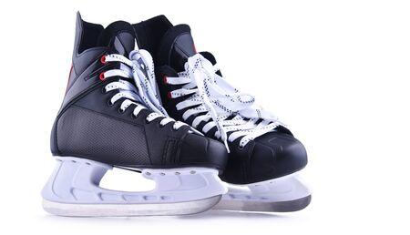 Pair of ice hockey skates isolated on white background. Foto de archivo