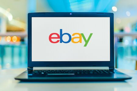 POZNAN, POL - JAN 30, 2020: Laptop computer displaying logo of eBay, an American multinational e-commerce corporation based in San Jose, California Banque d'images - 140143326