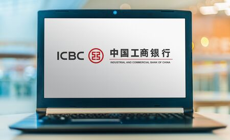 POZNAN, POL - JAN 30, 2020:  Laptop computer displaying logo of ICBC, the largest bank in China, and largest bank in the world by total assets, deposits, loans, number of customers and employees. Redakční