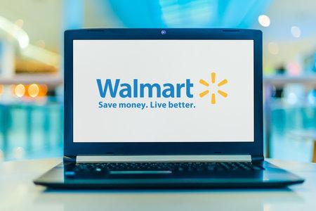 POZNAN, POL - JAN 30, 2020: Laptop computer displaying logo of Walmart Inc., an American multinational retail corporation headquartered in Bentonville, Arkansas