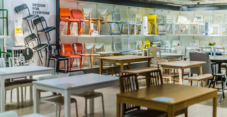 SINGAPORE - MAR 4, 2020: Interior of IKEA store, a brand of multinational group that designs and sells ready-to-assemble furniture and homeware products
