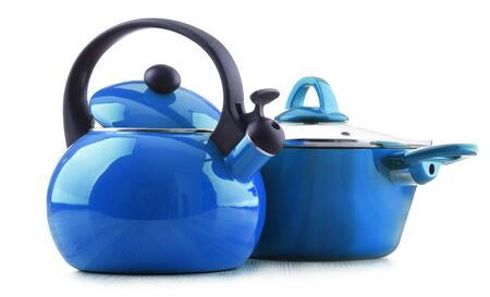 Sstainless steel stovetop kettle with whistle and pot isolated on white