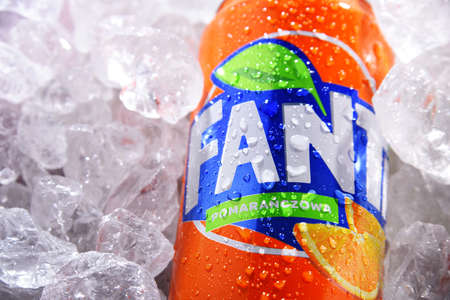 POZNAN, POL - JUN 10, 2020: Can of Fanta, a global brand of fruit-flavored carbonated soft drinks created by The Coca-Cola Company in Germany in 1940