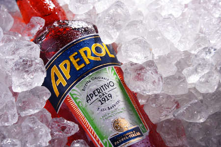 POZNAN, POL - MAY 28, 2020: Bottle of Aperol, an Italian aperitif made of gentian, rhubarb, and cinchona, It is produced by the Campari company.
