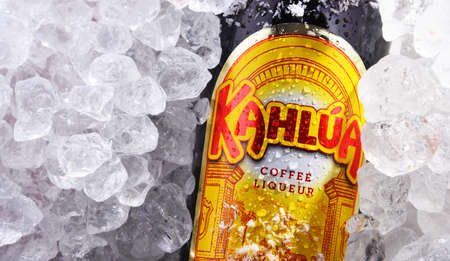 POZNAN, POL - MAY 28, 2020: Bottle of Kahlua, a brand of Mexican coffee-flavored liqueur containing rum, corn syrup and vanilla bean, manufactured by French company Pernod Ricard