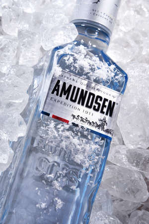 POZNAN, POL - JUN 18, 2020: Bottle of Amundsen Vodka, a brand of vodka produced by Arcus ASA, Norway's largest wholesaler of wine and liquor.