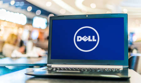 POZNAN, POL - APR 28, 2020: Laptop computer displaying logo of Dell, an American multinational computer technology company that develops, sells, repairs, and supports computers and related products and services
