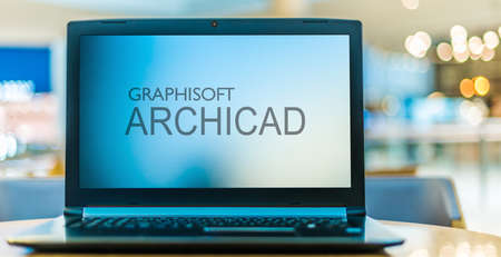 POZNAN, POL - JUN 16, 2020: Laptop computer displaying logo of Graphisoft SE, a design software company headquartered in Budapest, Hungary