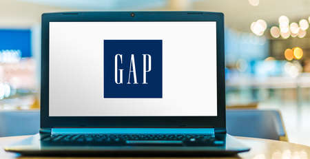 POZNAN, POL - JUN 20, 2020: Laptop computer displaying logo of Gap, an American worldwide clothing and accessories retailer