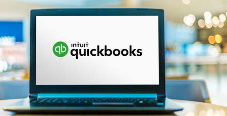 POZNAN, POL - JUN 16, 2020: Laptop computer displaying logo of QuickBooks, an accounting software package developed and marketed by Intuit Editorial