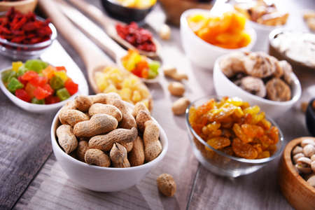 Composition with dried fruits and assorted nuts. Delicacies.