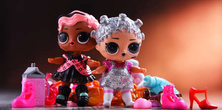 POZNAN, POL - AUG 13, 2020: Two LOL Surprise! dolls, products of MGA Entertainment Inc. a manufacturer of children's toys and entertainment products founded in 1979 in California, USA