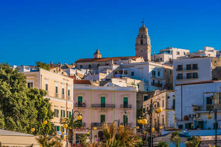 VIESTE, ITALY - SEP 8, 2020: View of Vieste in the province of Foggia, Apulia, Italy, located on the Adriatic Sea
