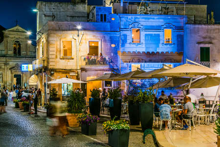 OSTUNI, ITALY - SEP 3, 2020: Street night view of Ostunia old town, Apulia, Italy