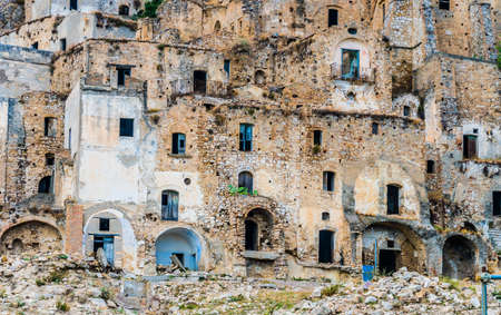 Ruins of Craco, a ghost town in the province of Matera, Basilicata, Italy