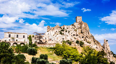 View of Craco, a ghost town in the province of Matera, Basilicata, Italy Stockfoto