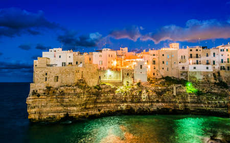 View of Polignano a Mare, a town in the Metropolitan City of Bari, Apulia, Italy, located on the Adriatic Sea