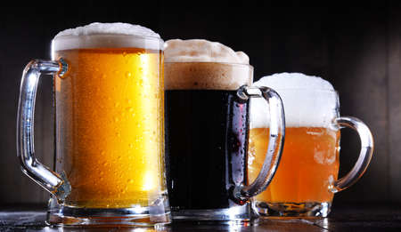 Composition with glasses of beer of various kinds Stock Photo
