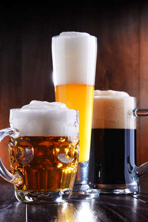 Composition with glasses of beer of various kinds Stockfoto