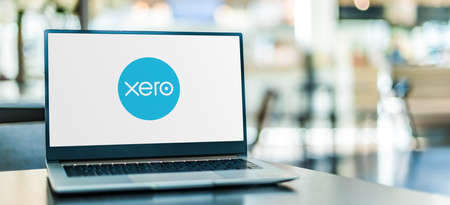 POZNAN, POL - SEP 23, 2020: Laptop computer displaying logo of Xero, a New Zealand technology company, offering a cloud-based accounting software platform for small and medium-sized businesses