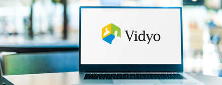 POZNAN, POL - SEP 23, 2020: Laptop computer displaying of Vidyo, Inc., a video communications technology company based in Hackensack, New Jersey, USA