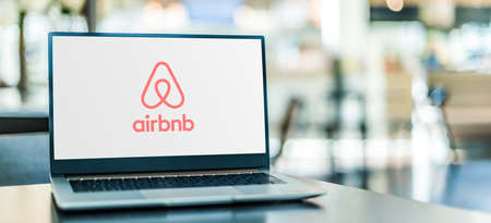 POZNAN, POL - SEP 23, 2020: Laptop computer displaying of Airbnb, an American vacation rental online marketplace company based in San Francisco, California