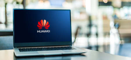 POZNAN, POL - SEP 23, 2020: Laptop computer displaying of Huawei, a multinational telecommunications equipment and consumer electronics manufacturer, headquartered in Shenzhen, China