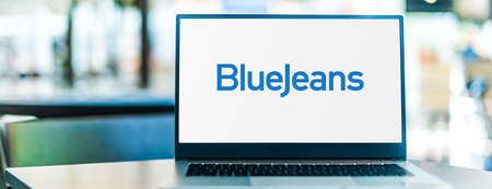 POZNAN, POL - SEP 23, 2020: Laptop computer displaying of BlueJeans by Verizon, a company that provides an interoperable cloud-based video conferencing service