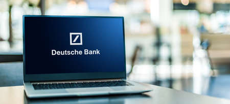 POZNAN, POL - SEP 23, 2020: Laptop computer displaying of Deutsche Bank, a multinational investment bank and financial services company headquartered in Frankfurt, Germany Sajtókép